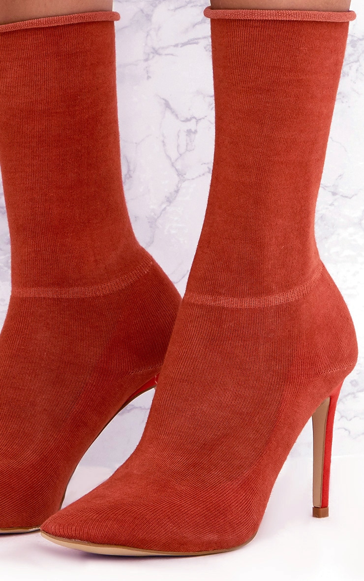 Orange Knitted Sock Boots 5