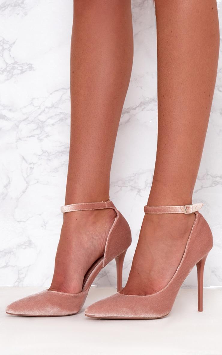 Blush Velvet Ankle Strap Pointy Heels 2