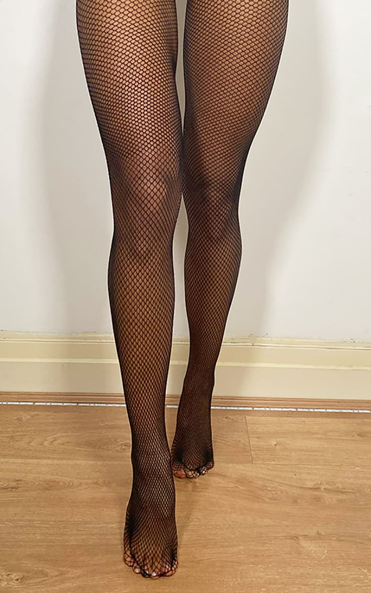 Black Fishnet Seamed Tights 2