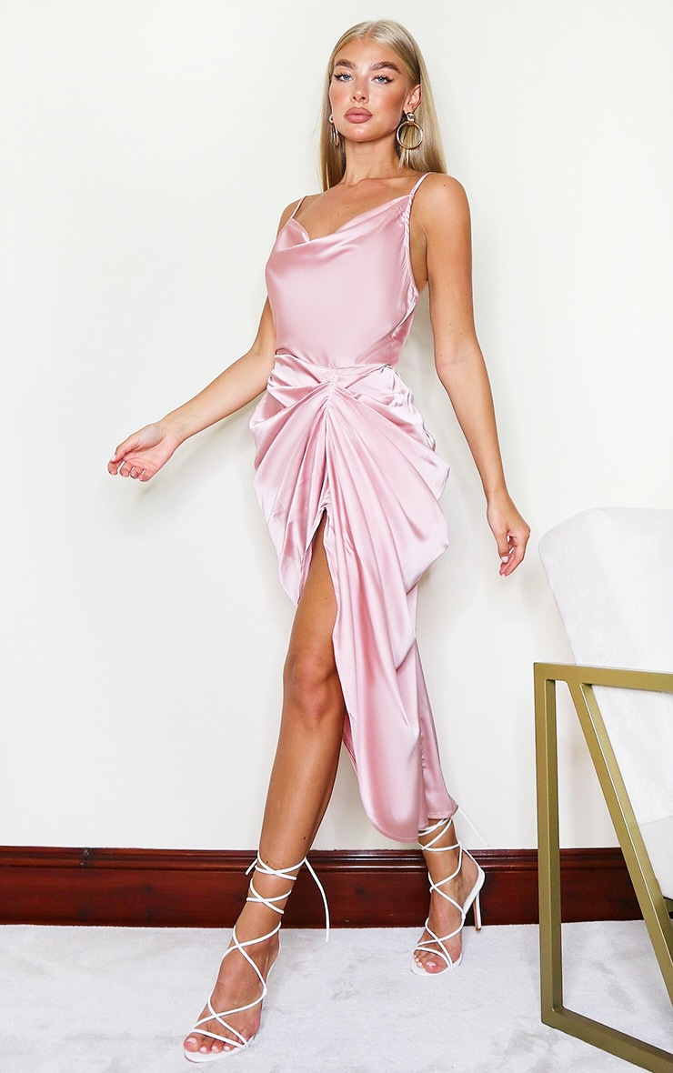 Rose Satin Strappy Cowl Neck Side Gathered Midi Dress 3