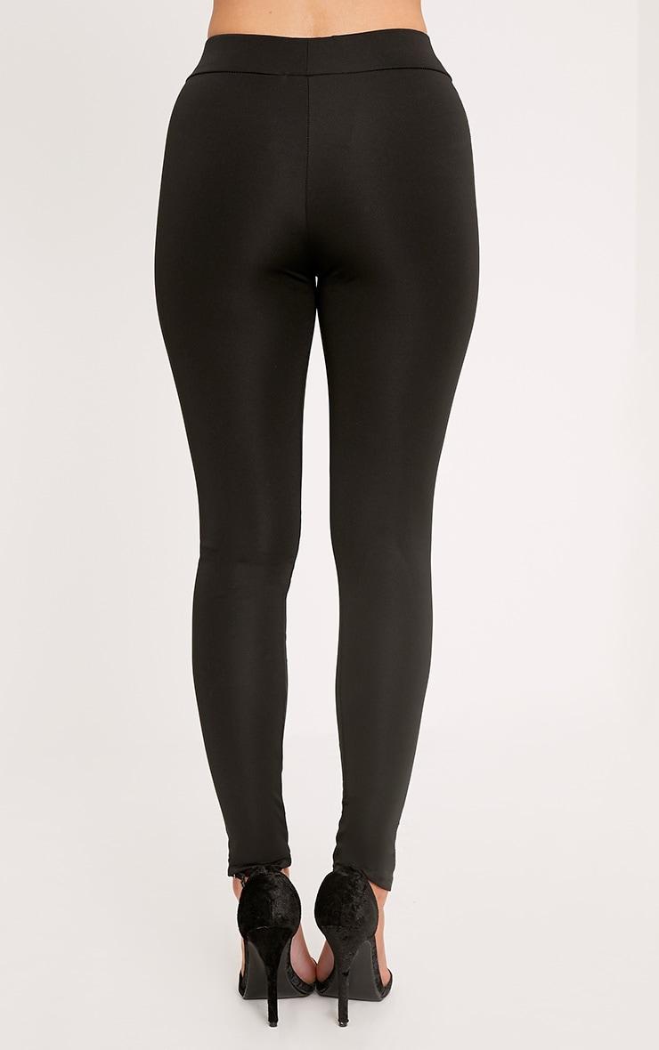 Shreya  Black Quilted Panel Leggings 4