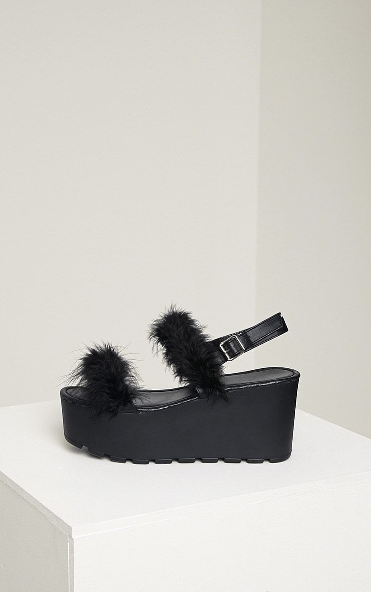 Chelo Black Fluffy Strap Sandals 5