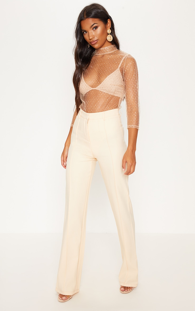Gold Glitter Mesh Long Sleeve Bodysuit 5