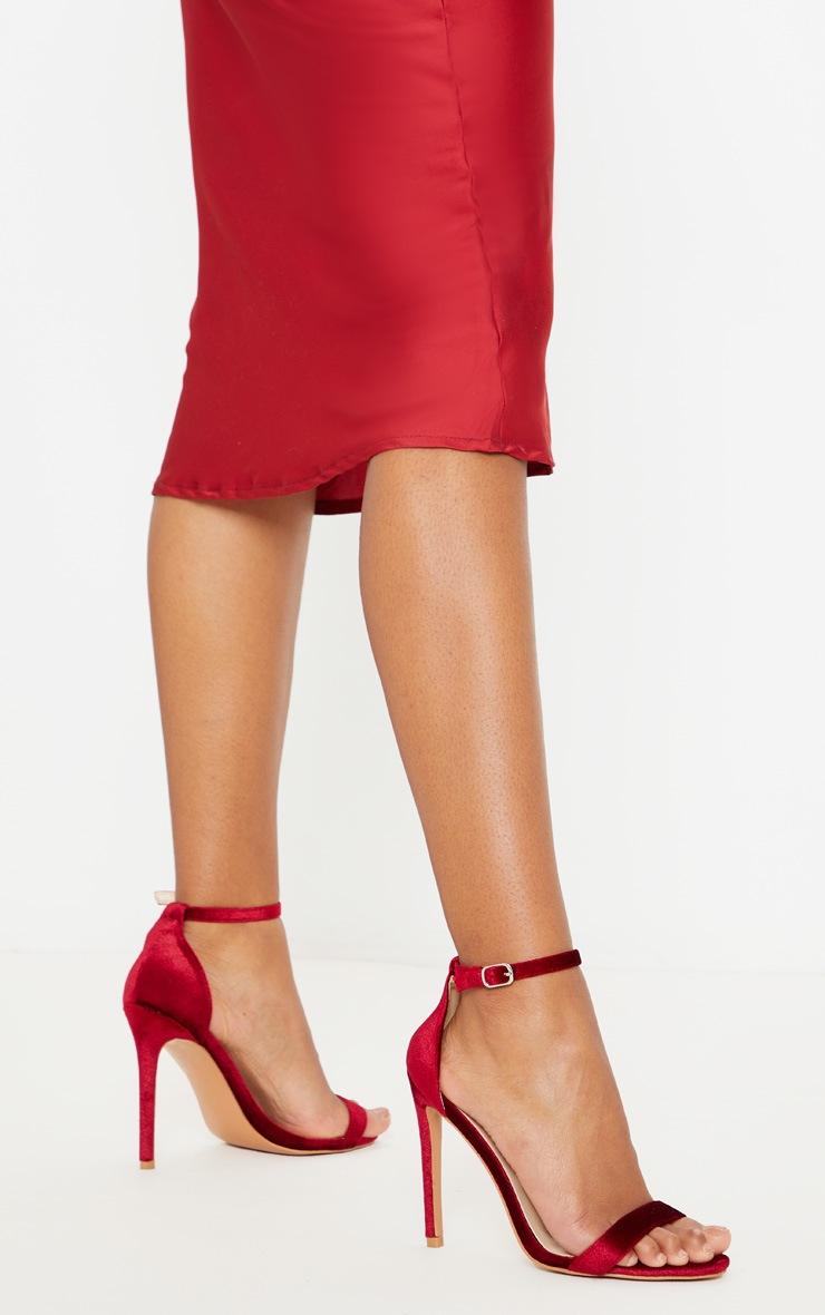 Dark Red Velvet Clover Heeled Sandals 2