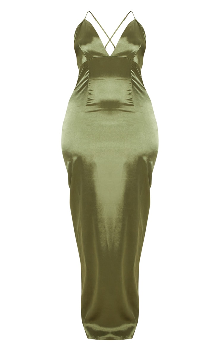 Plus Olive Green Satin Strappy Maxi Dress 3