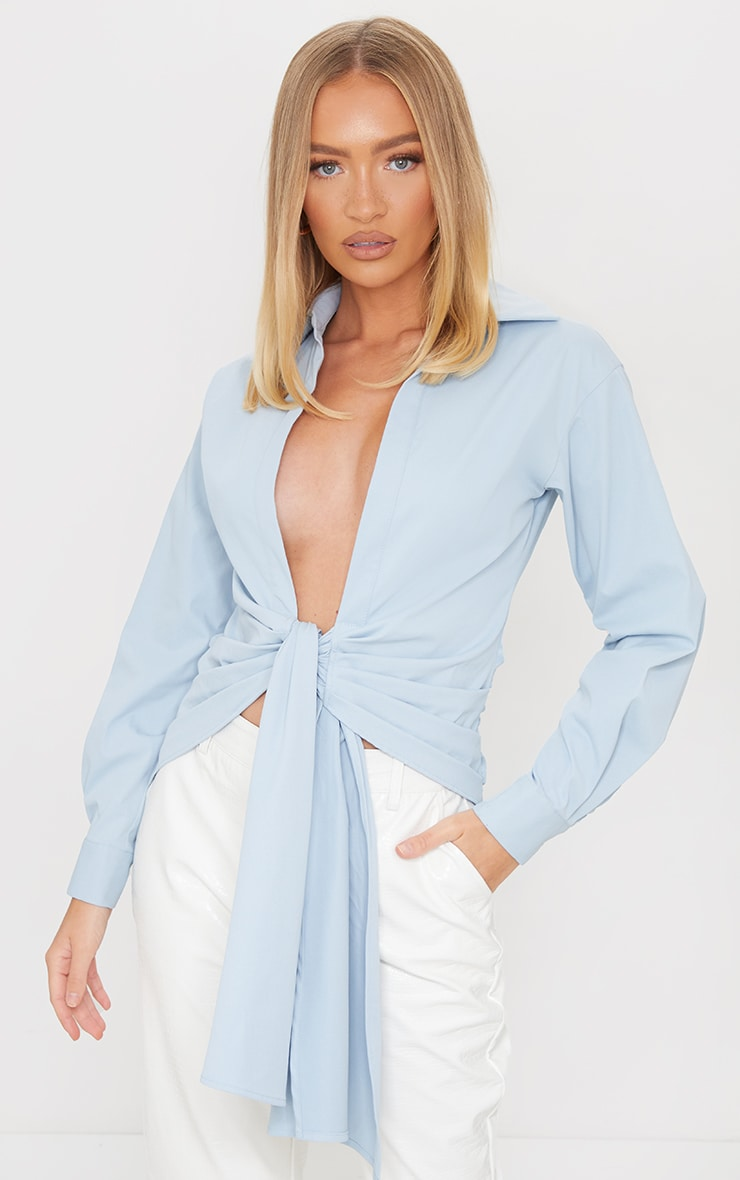 Pastel Blue Woven Ruched Tie Front Plunge Shirt 1
