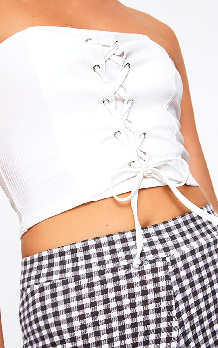 White Corset Lace Up Bandeau Top 5