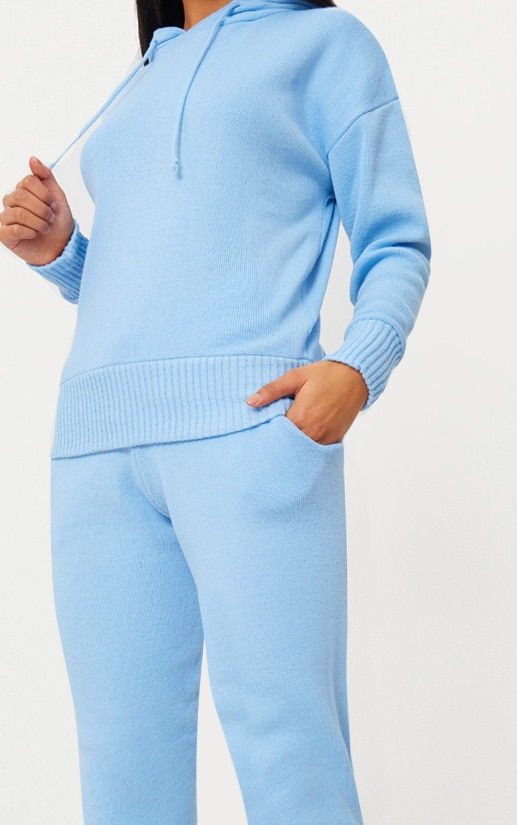 Dusty Blue Hooded Jogger Knitted Lounge Set 5