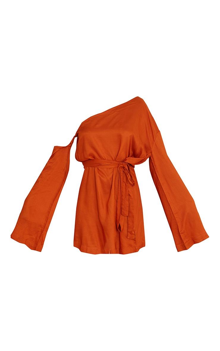 Terracotta One Shoulder Tie Wrap Detail Shift Dress 5