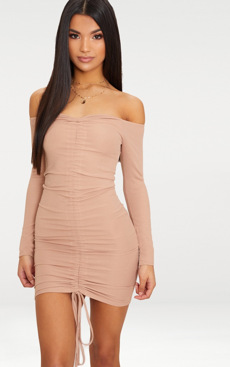 Stone Ribbed Long Sleeve Bardot Ruched Bodycon Dress 1