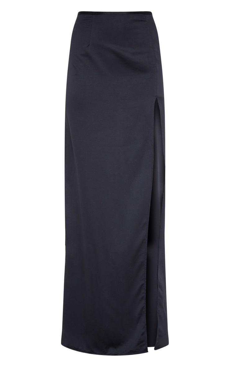 Black Satin Maxi Skirt  3