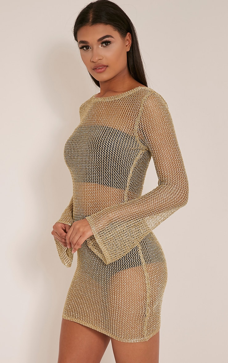 Eshe Gold Metallic Knitted Mini Dress 1