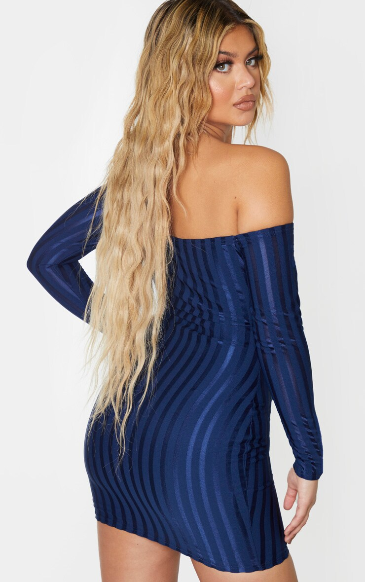 Navy Satin Stripe Detail Bardot Bodycon Dress 2