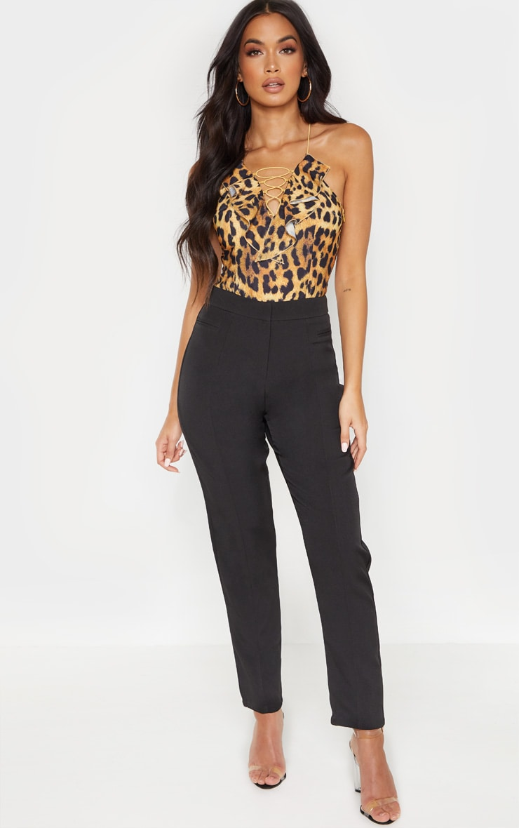 Tan Leopard Printed Spaghetti Strap Lace Up Sleeveless Bodysuit 4