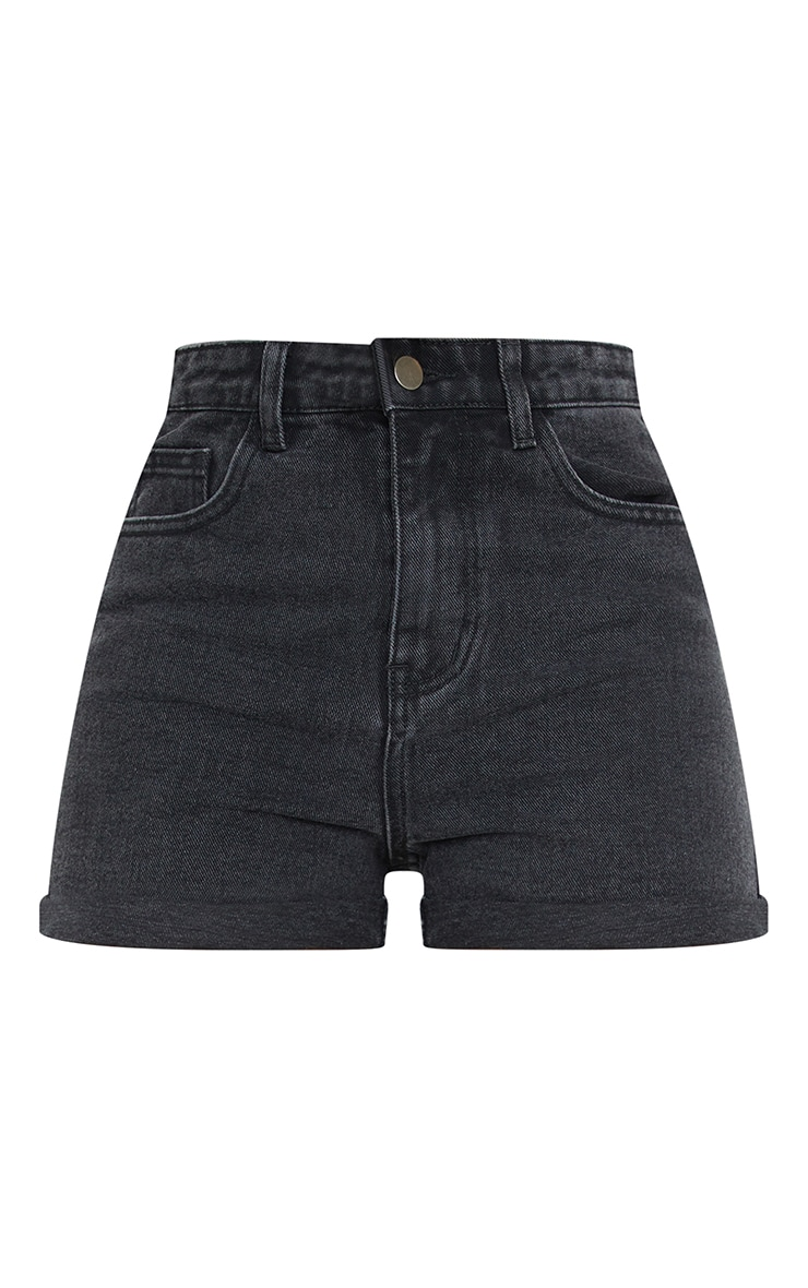 Tall Black Wash Turn Up Denim Mom Shorts 6