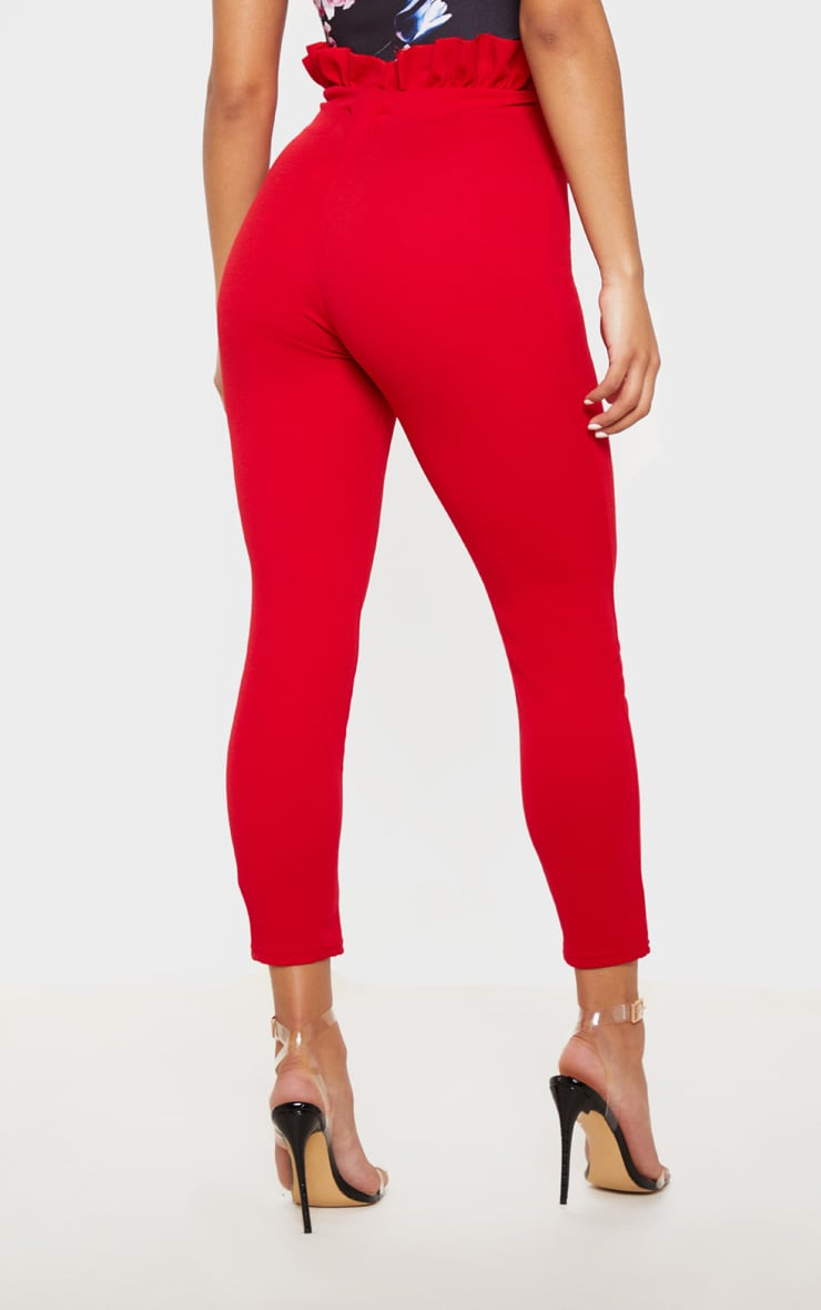 Perlita Red Paperbag Skinny Trousers 4