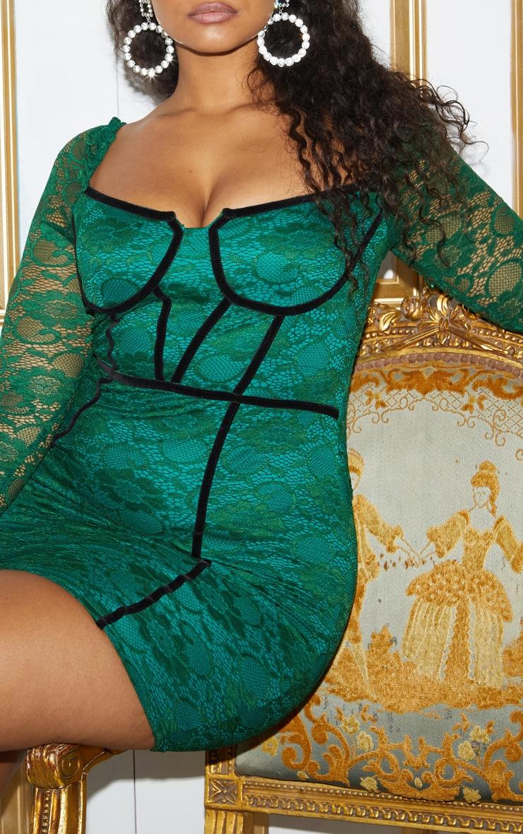 Plus Green Lace Puff Sleeve Binding Bodycon Dress 7