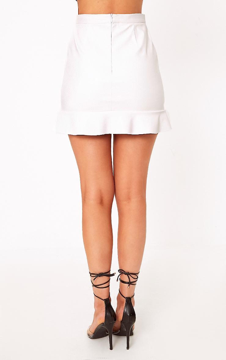 Horatia Cream Stud Hem Leather Mini Skirt 4