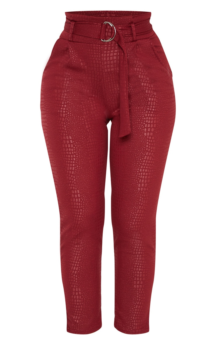 Burgundy Croc Print D Ring Belted Skinny Trousers 3