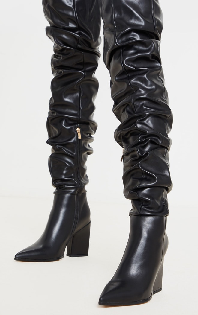 Black Ruched Thigh High Block Heel Boots 5