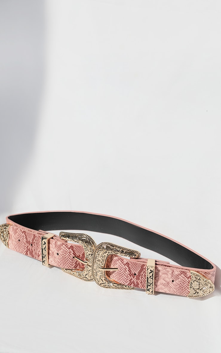 Pink Snake Ornate Buckle Waist Belt 1