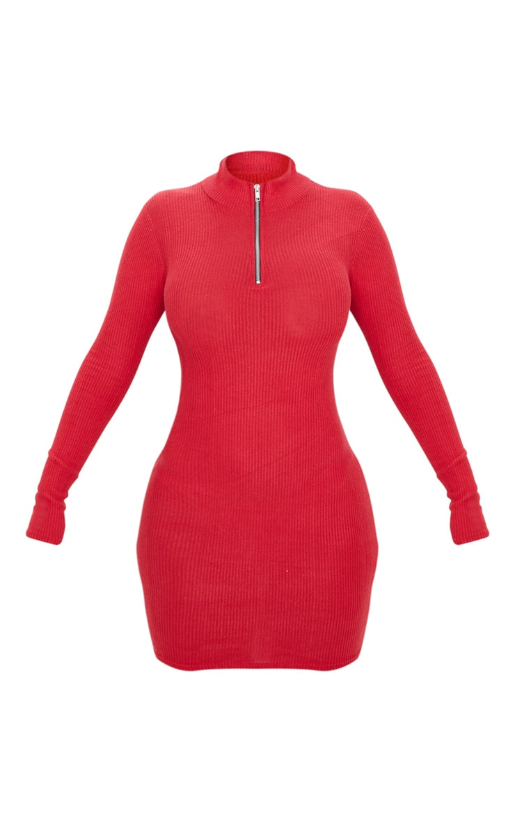 Scarlet Brushed Rib Long Sleeve Zip Front Bodycon Dress 3