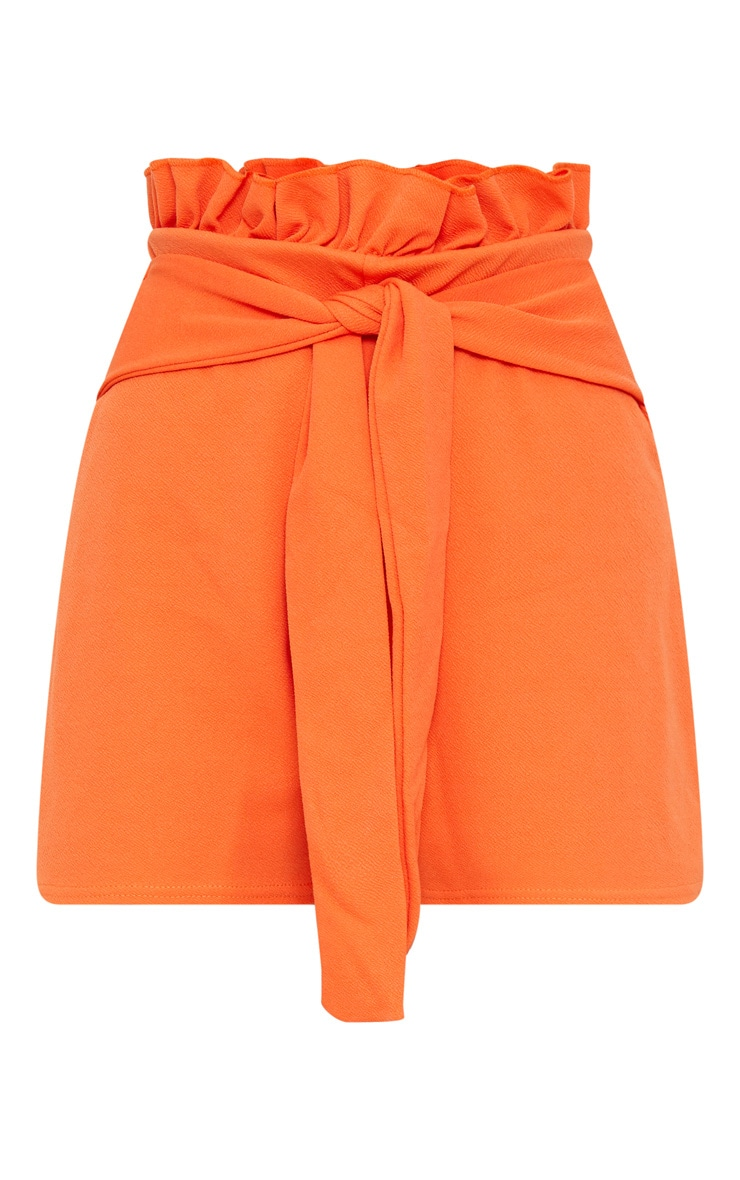 Orange Paperbag Waist Shorts 3