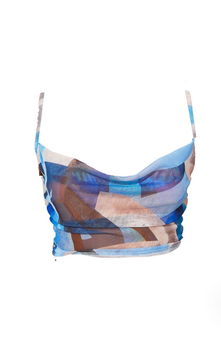 Blue Print Mesh Cowl Neck Cami 5