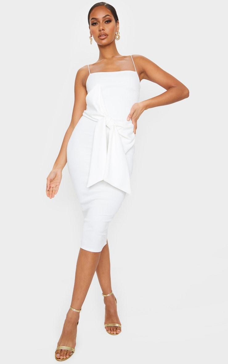 White Bow Front Detail Midi Dress 1