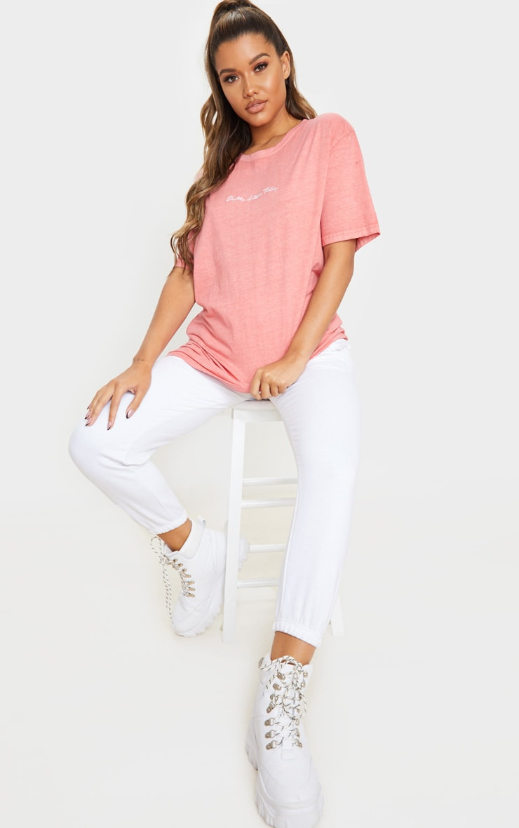 PRETTYLITTLETHING Red Embroidered Wash T Shirt 3
