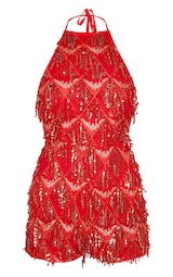 f08b8bf18ec Red Tassel Sequin Playsuit image 3