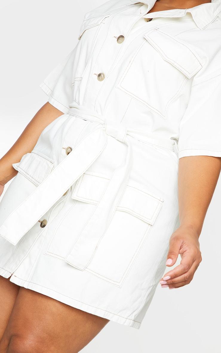 Plus Ecru Tie Waist Button Up Denim Dress 4