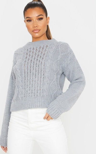 Grey Cable Front Crop Jumper
