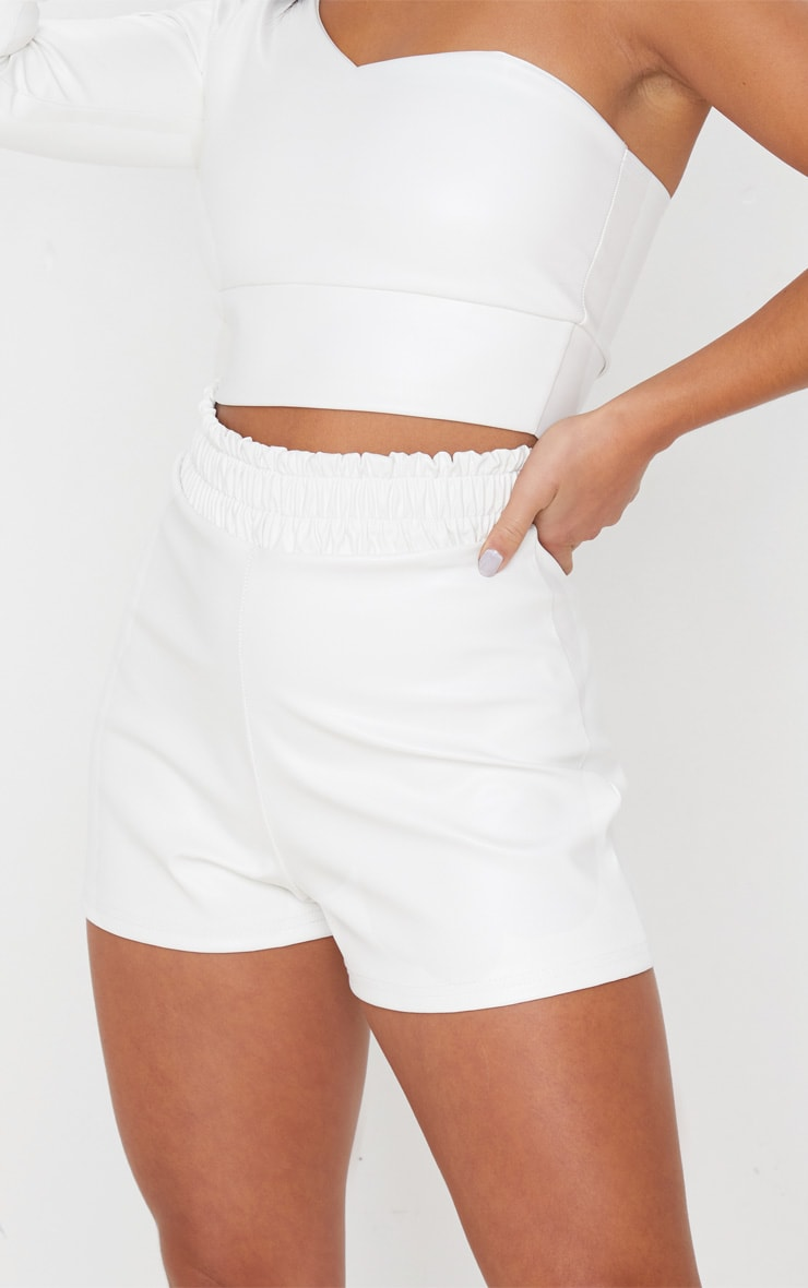 Petite Cream Ruched Waist PU Short 6