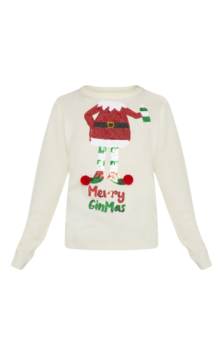 Cream Merry Ginmas Knitted Christmas Jumper 3