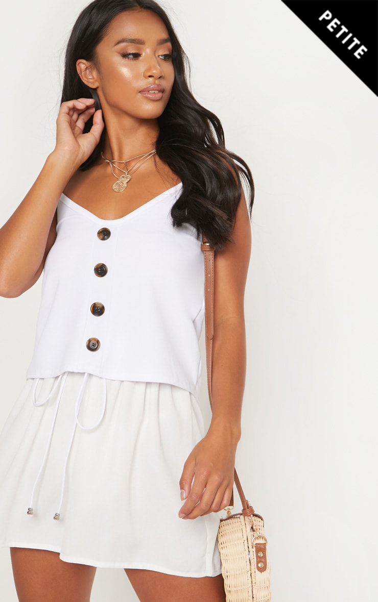 Petite White Button Front Cami Top