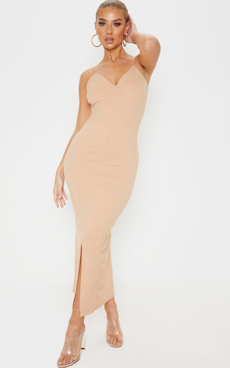 Stone Strappy Plunge Ribbed Midaxi Dress