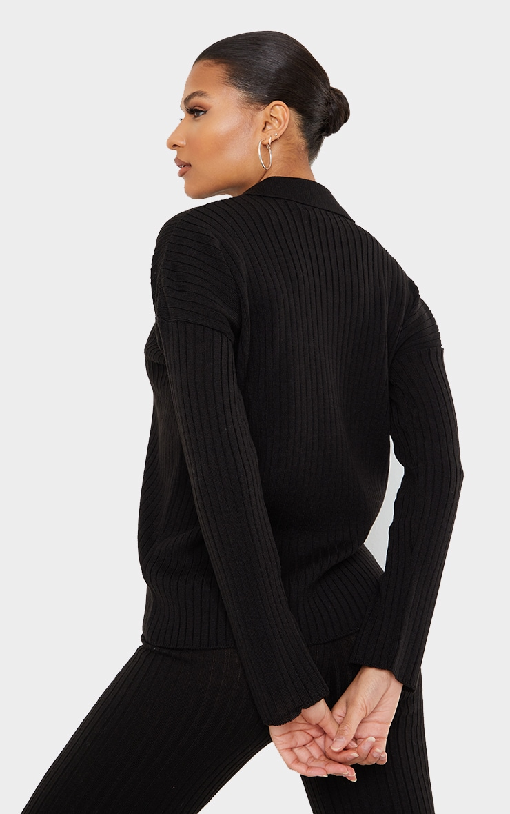 Black Ribbed Knitted Button Up Oversized Jumper 2