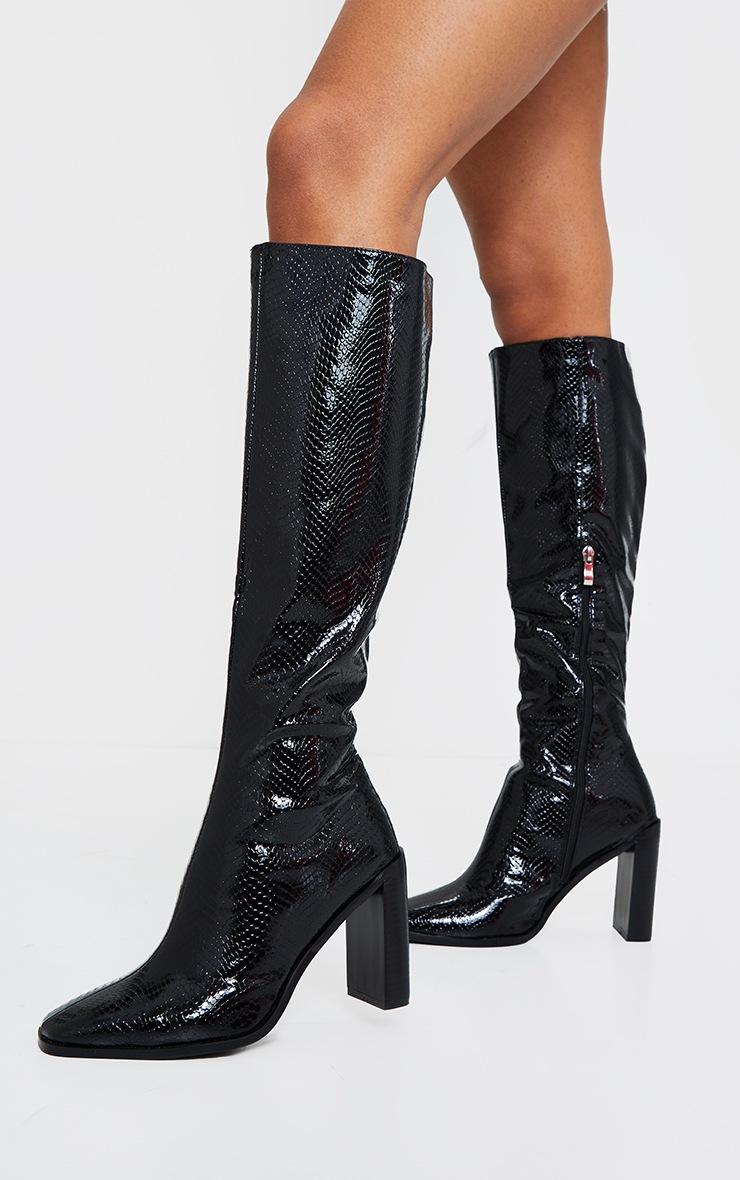 Black Pu Snake High Flat Block Heel Knee Boots 3