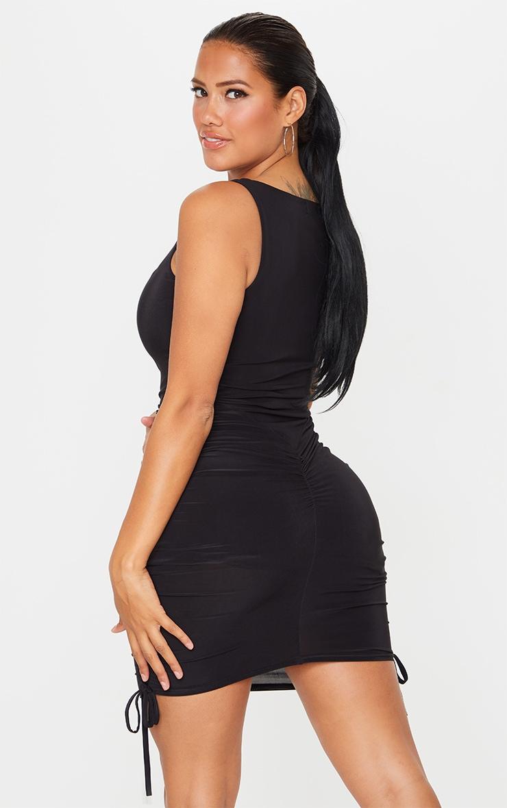 Shape Black Slinky Ruche Side Bodycon Dress 2
