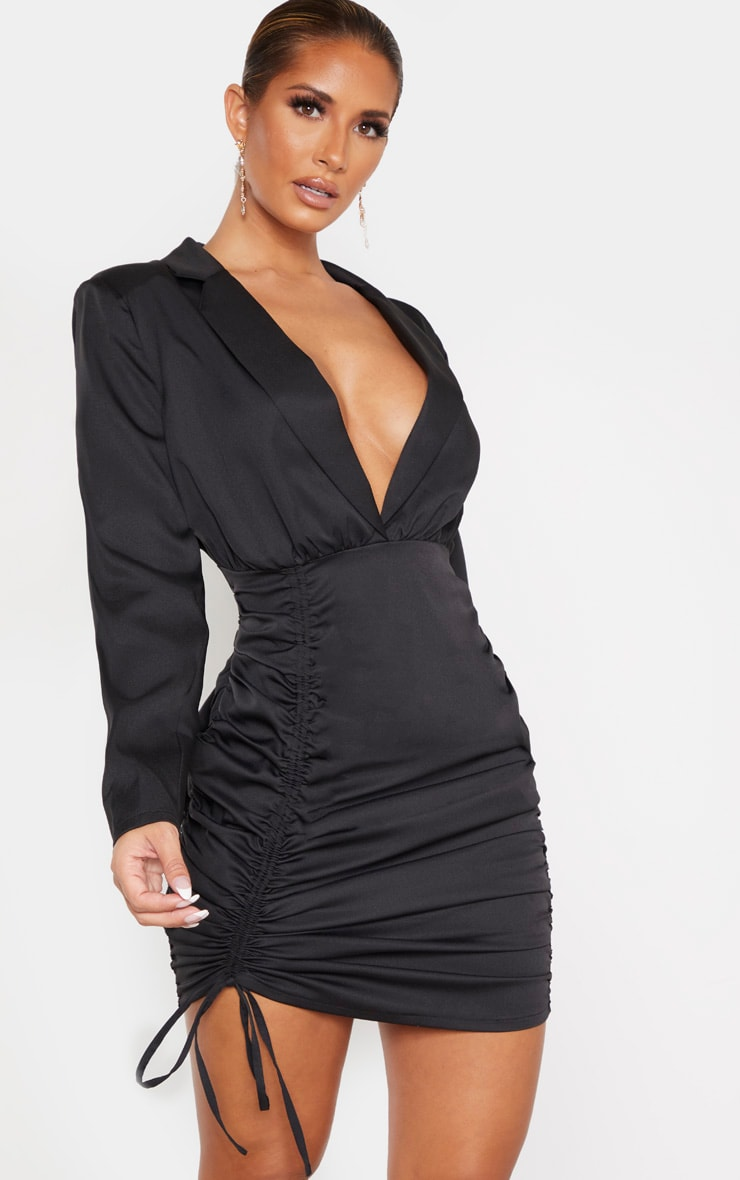 Black Woven Ruched Deep Plunge Blazer Dress 1