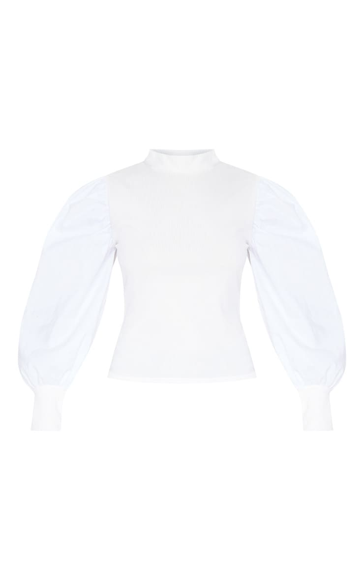 White Rib Roll Neck Woven Sleeve Top 3