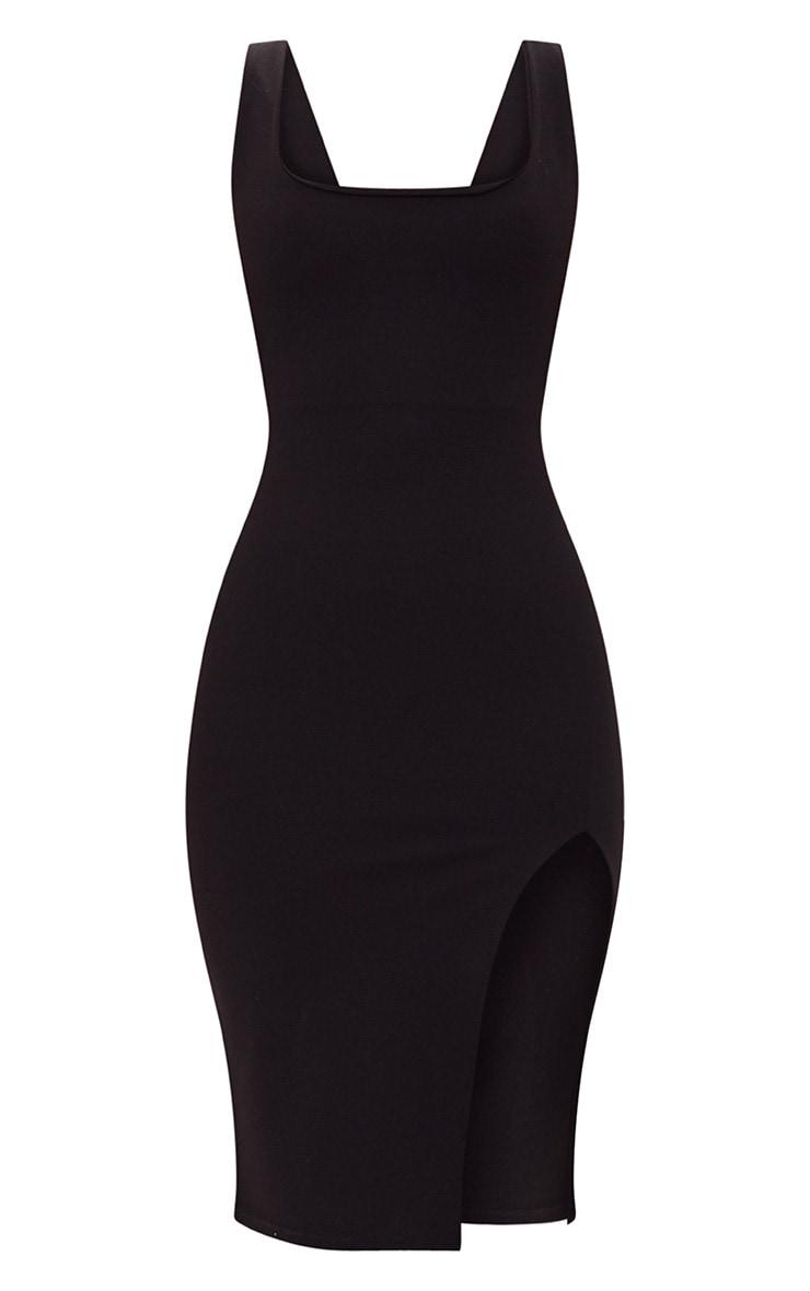Black Tie Back Scoop Neck Midi Dress 3