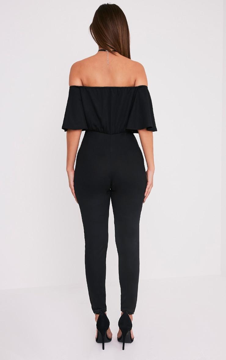 Junna Black Bardot Crepe Jumpsuit 2
