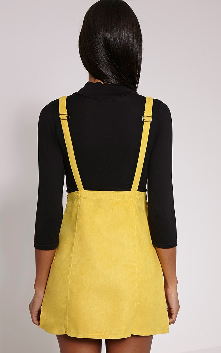 Lumie Mustard Faux Suede Pinafore Dress 2