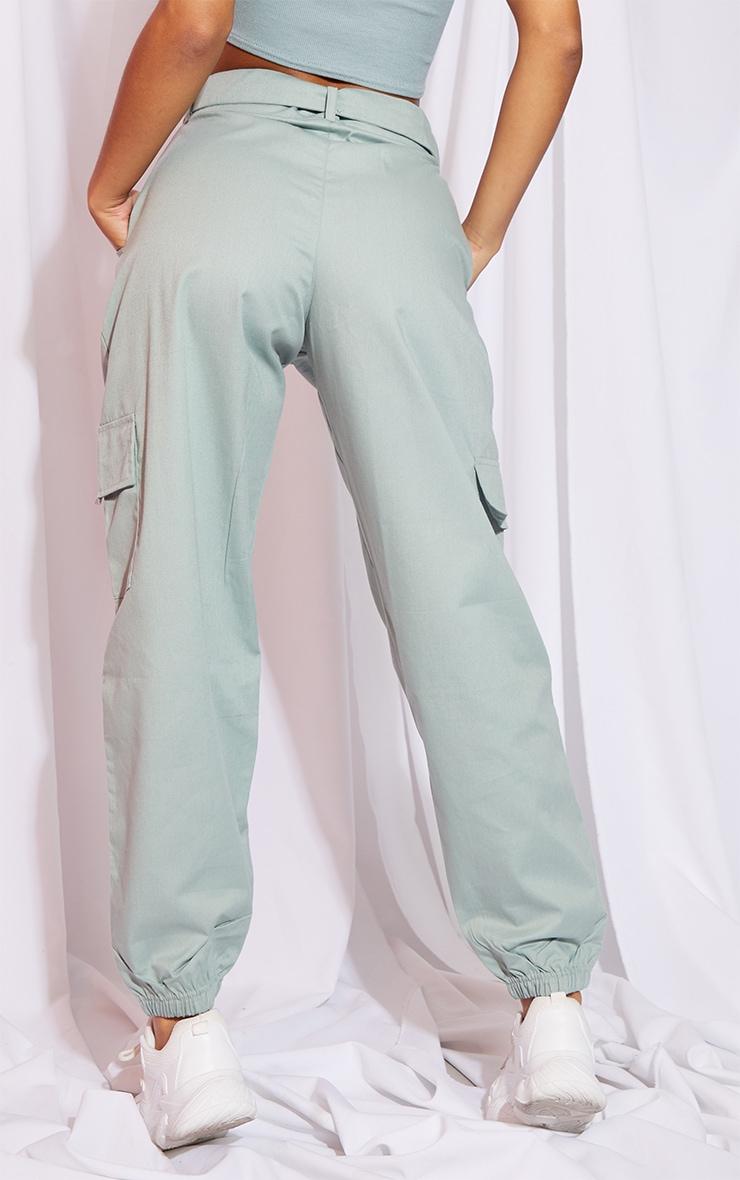 Sage Eyelet Detail Belted Cargo Pants 3