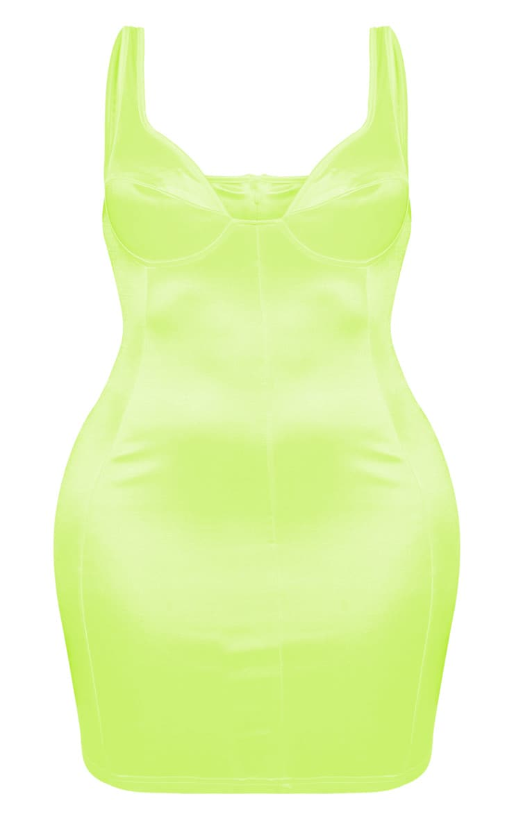 Shape Neon Lime Satin Bust Cup Seam Detail Bodycon Dress 3