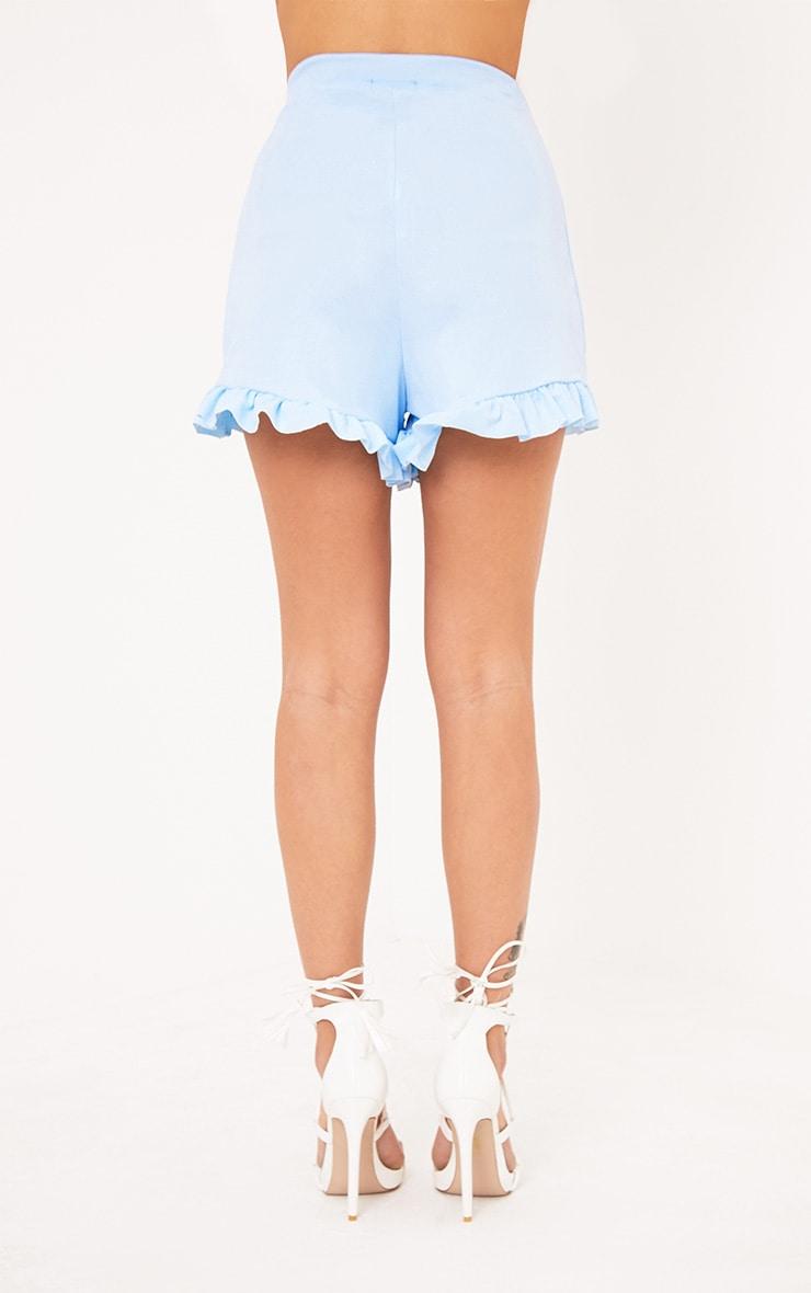 Baby Blue Frill Hem Shorts  3