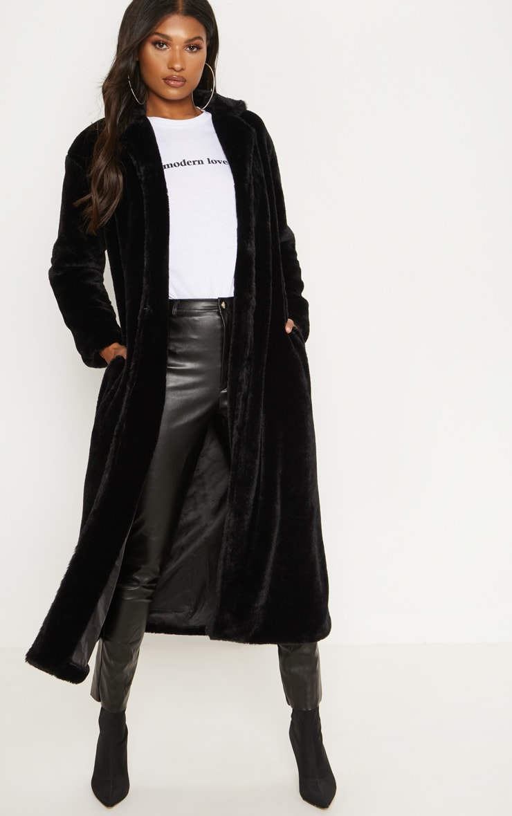 Black Longline Faux Fur Coat 1