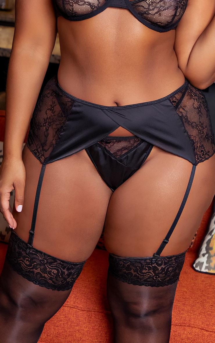 Plus Black Floral Lace And Satin Suspender Belt 1